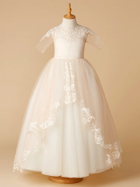 A-Line Sweep / Brush Train Wedding / First Communion / Pageant Flower Girl Dresses - Tulle Half Sleeve Jewel Neck With Appliques_1