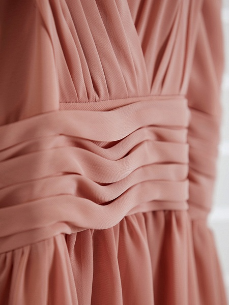 A-Line V Neck Maxi Chiffon Junior Bridesmaid Dress With Pleats / Ruching_10