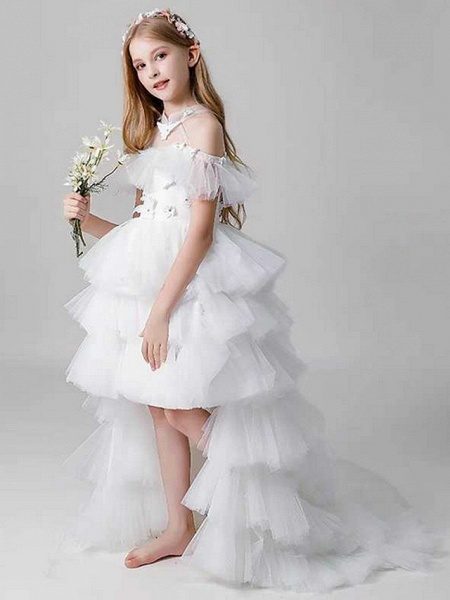 Sheath / Column Sweep / Brush Train Party / Birthday Flower Girl Dresses - Poly Sleeveless Off Shoulder With Lace / Tier_1