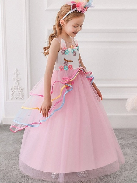 Princess / Ball Gown Floor Length Wedding / Party Flower Girl Dresses - Tulle Sleeveless Illusion Neck With Appliques / Cascading Ruffles_2