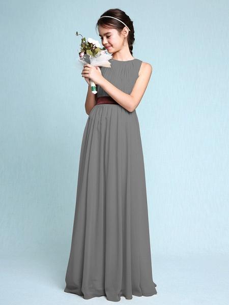 Sheath / Column Scoop Neck Floor Length Chiffon Junior Bridesmaid Dress With Draping / Natural_26