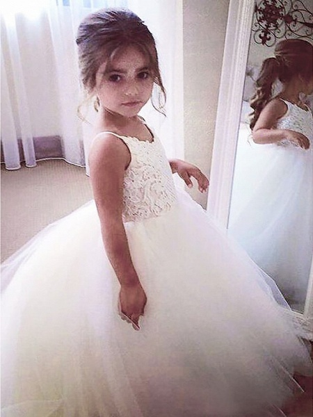 A-Line Floor Length Wedding / First Communion / Pageant Flower Girl Dresses - Satin / Tulle Sleeveless Jewel Neck With Appliques_1