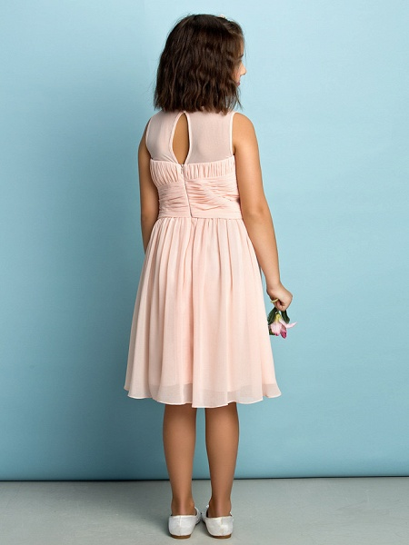 A-Line Jewel Neck Knee Length Chiffon Junior Bridesmaid Dress With Criss Cross / Natural / Mini Me_9