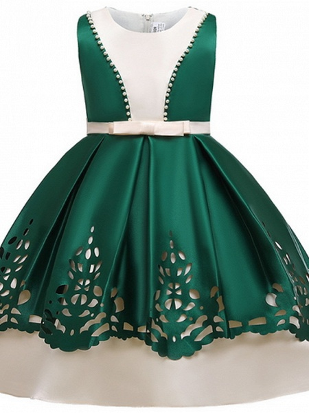 Ball Gown Ankle Length Pageant Flower Girl Dresses - Polyester Sleeveless Jewel Neck With Beading_2