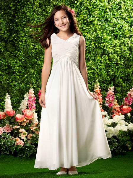 Sheath / Column V Neck Ankle Length Chiffon Junior Bridesmaid Dress With Criss Cross / Draping / Spring / Summer / Fall / Wedding Party_1