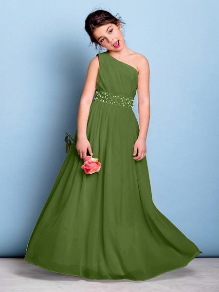 A-Line One Shoulder Floor Length Chiffon Junior Bridesmaid Dress With Sash / Ribbon / Beading / Side Draping / Natural_40