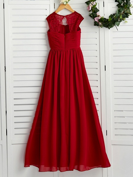 A-Line Square Neck Floor Length Chiffon Junior Bridesmaid Dress With Lace / Ruching_2