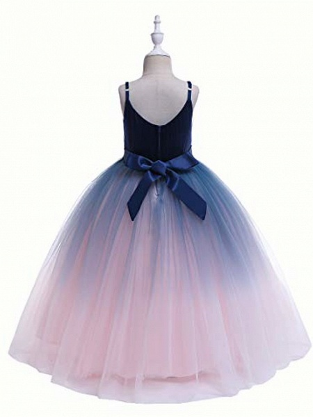 Girls Lace Bridesmaid Dress Long A Line Wedding Pageant Dresses Flower Girls Princess Ombre Tulle Party Gown Age 3-16Y &Amp; # 40; 3T - 4T, V-Navy Blue&Amp; Blush Pink&Amp;;_7