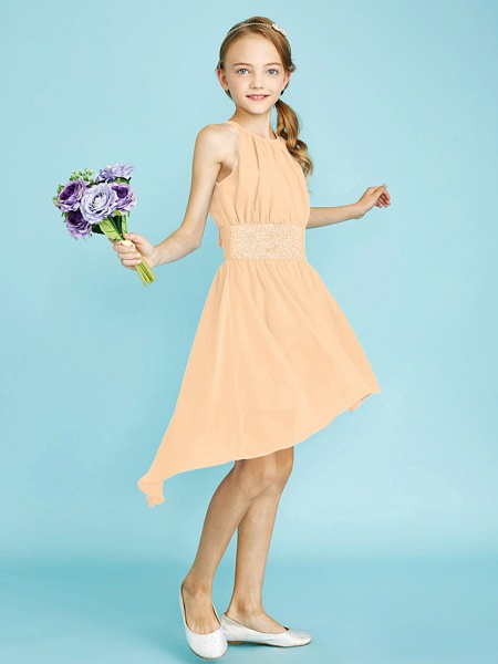 Sheath / Column Jewel Neck Asymmetrical Chiffon Junior Bridesmaid Dress With Sequin / Natural_20