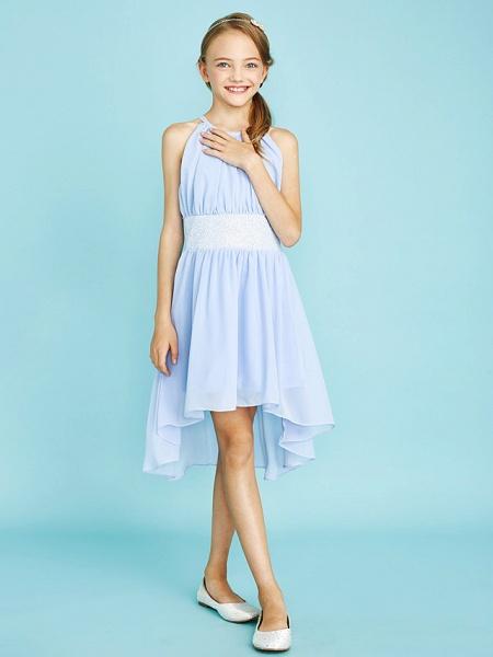 Sheath / Column Jewel Neck Asymmetrical Chiffon Junior Bridesmaid Dress With Sequin / Natural_7