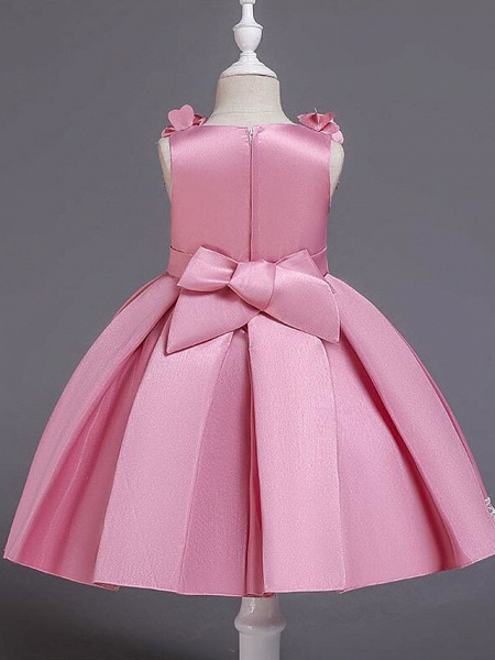 Princess Knee Length Wedding / Party / Pageant Flower Girl Dresses - Satin / Cotton Sleeveless Jewel Neck With Petal / Belt / Bow(S)_6
