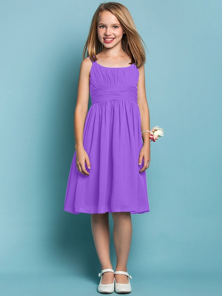 Sheath / Column Straps Knee Length Chiffon Junior Bridesmaid Dress With Ruched / Draping / Spring / Summer / Fall / Apple / Hourglass_29