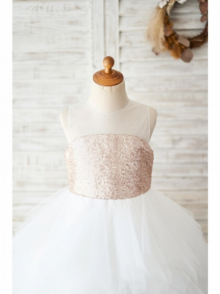 Ball Gown Knee Length Wedding / Birthday Flower Girl Dresses - Tulle / Sequined Sleeveless Jewel Neck With Tiered_3