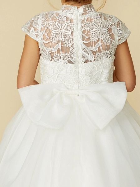 Ball Gown Floor Length Wedding / First Communion Flower Girl Dresses - Lace / Tulle Short Sleeve High Neck With Lace / Sash / Ribbon / Bow(S)_14