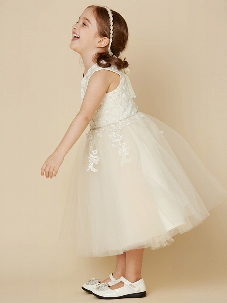 A-Line Knee Length Wedding / First Communion Lace / Tulle Sleeveless Jewel Neck With Beading / Appliques_4