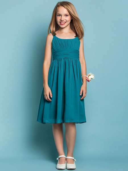 Sheath / Column Straps Knee Length Chiffon Junior Bridesmaid Dress With Ruched / Draping / Spring / Summer / Fall / Apple / Hourglass_26