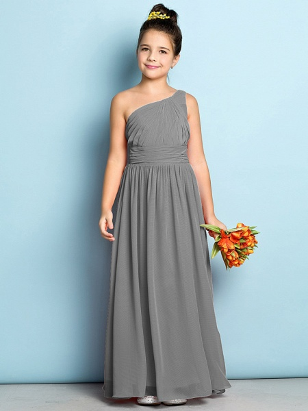 A-Line One Shoulder Ankle Length Chiffon Junior Bridesmaid Dress With Side Draping / Natural / Mini Me_24