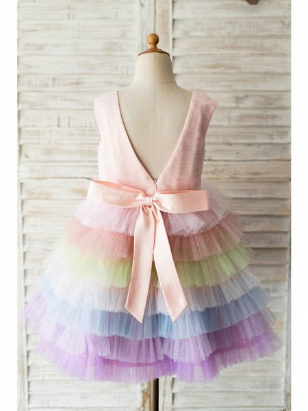 Ball Gown Knee Length Wedding / Birthday Flower Girl Dresses - Tulle Sleeveless Jewel Neck With Bow(S) / Pearls_2