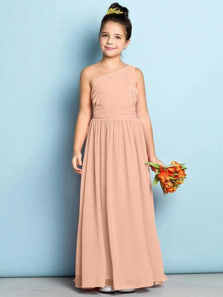 A-Line One Shoulder Ankle Length Chiffon Junior Bridesmaid Dress With Side Draping / Natural / Mini Me_11