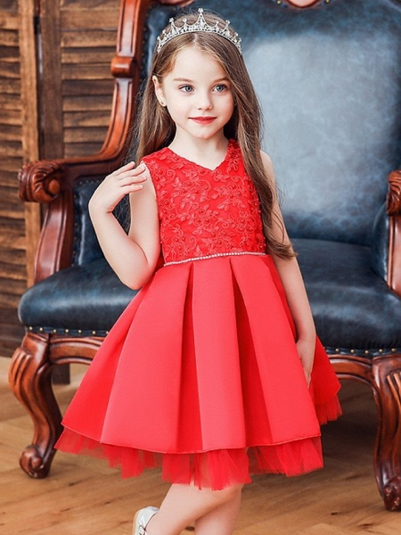 Princess / Ball Gown Knee Length Wedding / Party Flower Girl Dresses - Tulle Sleeveless V Neck With Sash / Ribbon / Bow(S) / Appliques_2