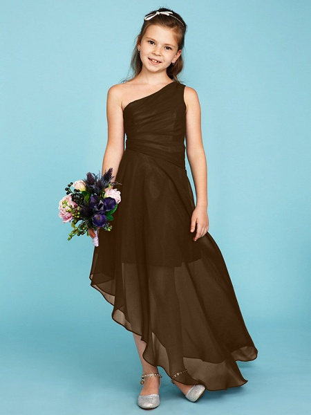 A-Line One Shoulder Asymmetrical Chiffon Junior Bridesmaid Dress With Side Draping / Wedding Party_33