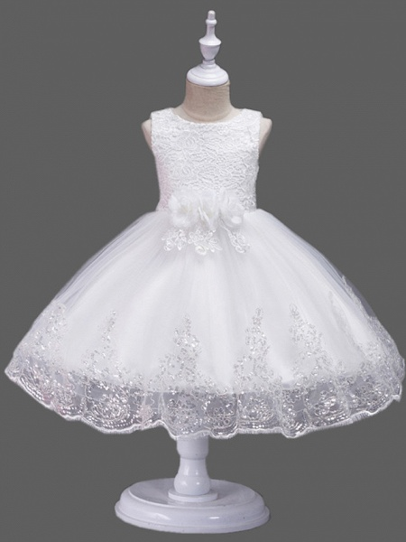Princess Midi Wedding / Birthday Lace / Tulle Sleeveless Jewel Neck With Petal / Lace / Embroidery_3