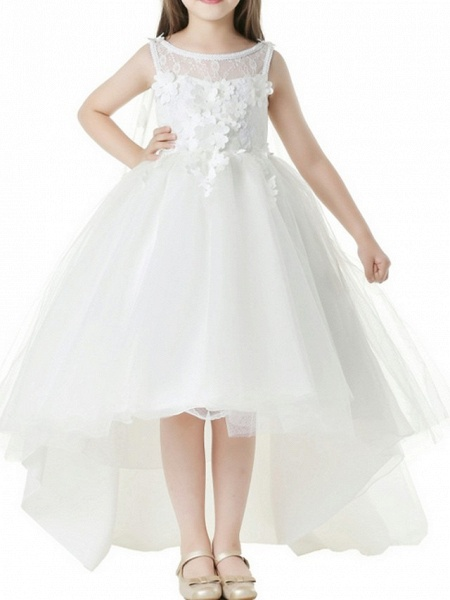 Ball Gown Asymmetrical First Communion Flower Girl Dresses - Polyester Sleeveless Jewel Neck With Appliques