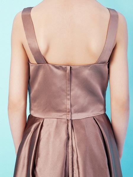 Princess / A-Line Straps / Sweetheart Neckline Tea Length Satin Junior Bridesmaid Dress With Criss Cross / Draping / Spring / Summer / Fall / Apple / Hourglass_7