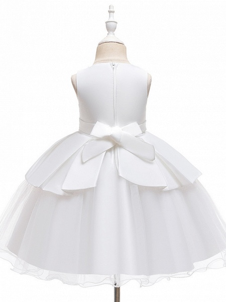 A-Line Knee Length Wedding / Party Communion Dresses - Tulle / Matte Satin / Poly&Cotton Blend Sleeveless Jewel Neck With Lace / Bow(S) / Beading_10