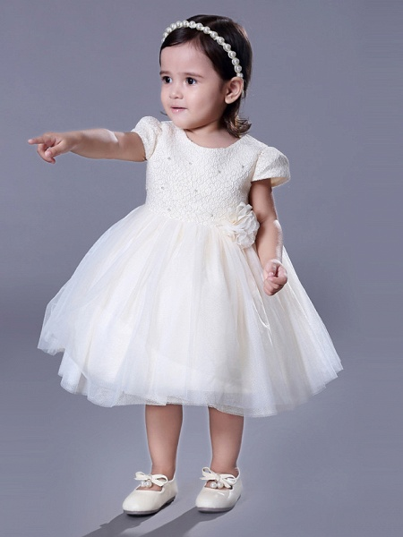 Ball Gown Royal Length Train / Medium Length Wedding / Event / Party Flower Girl Dresses - Lace Short Sleeve Jewel Neck With Belt / Beading / Flower_1