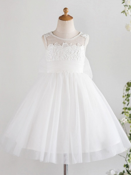 Princess Knee Length Wedding / First Communion / Birthday Flower Girl Dresses - Lace / Tulle Sleeveless Jewel Neck With Bows / Feathers / Fur / Appliques_1