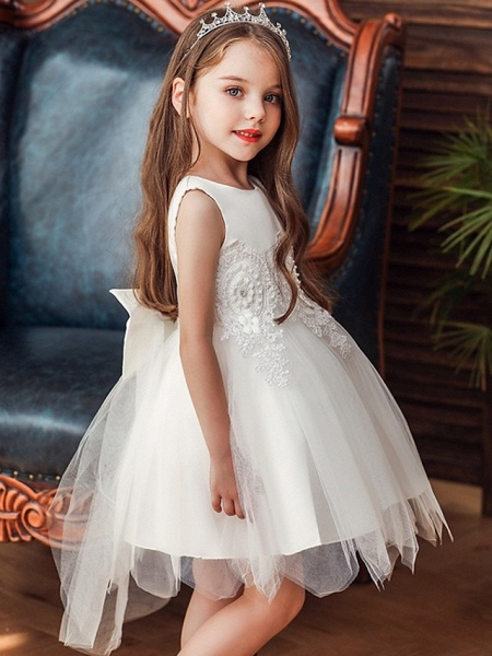 Princess / Ball Gown Knee Length Wedding / Party Flower Girl Dresses - Lace / Satin / Tulle Sleeveless Jewel Neck With Appliques_2