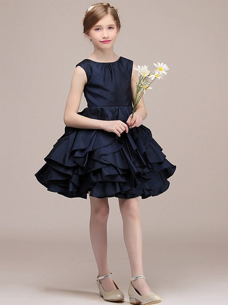 A-Line Round Short / Mini Satin Junior Bridesmaid Dress With Tier / Cascading Ruffles_2