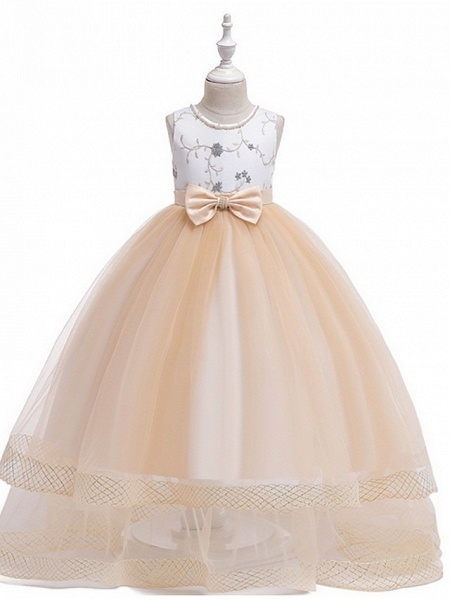 Princess Round Floor Length Cotton Junior Bridesmaid Dress With Bow(S) / Embroidery_1