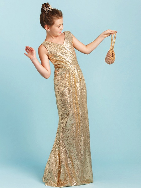 Princess / A-Line V Neck Floor Length Sequined Junior Bridesmaid Dress With Pleats / Sequin_4