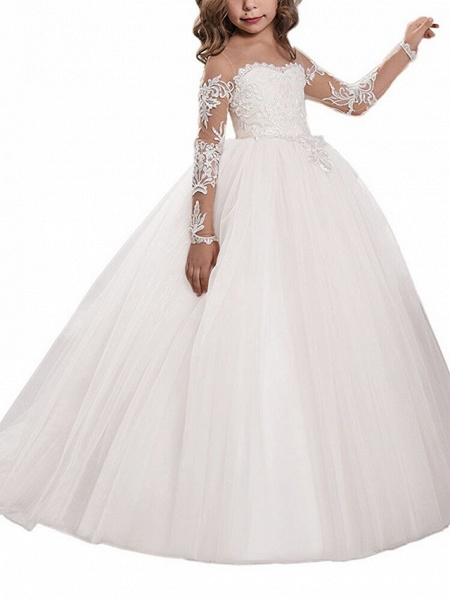 Ball Gown Sweep / Brush Train Wedding / Birthday / Pageant Flower Girl Dresses - Lace / Tulle Long Sleeve Off Shoulder With Lace / Embroidery / Appliques_4