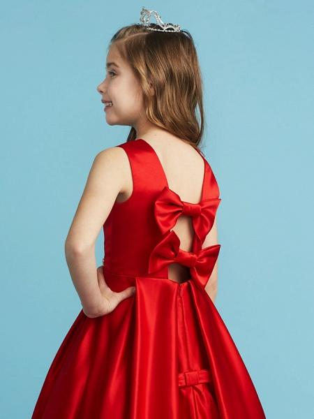 Princess / A-Line Jewel Neck Floor Length Satin Junior Bridesmaid Dress With Bow(S) / Pleats / Crystals_6