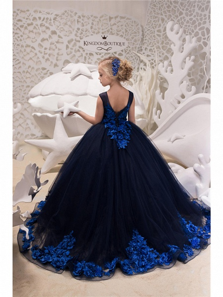 Princess / Ball Gown Sweep / Brush Train Wedding / Party Flower Girl Dresses - Tulle Sleeveless Jewel Neck With Appliques_2