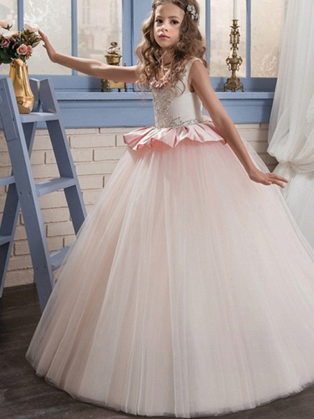 Ball Gown Court Train / Sweep / Brush Train Party / Birthday Flower Girl Dresses - Poly Sleeveless Jewel Neck With Lace / Ruffles / Tier_1
