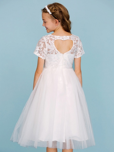 Princess / A-Line Crew Neck Knee Length Lace / Tulle Junior Bridesmaid Dress With Pleats / Wedding Party / See Through_6