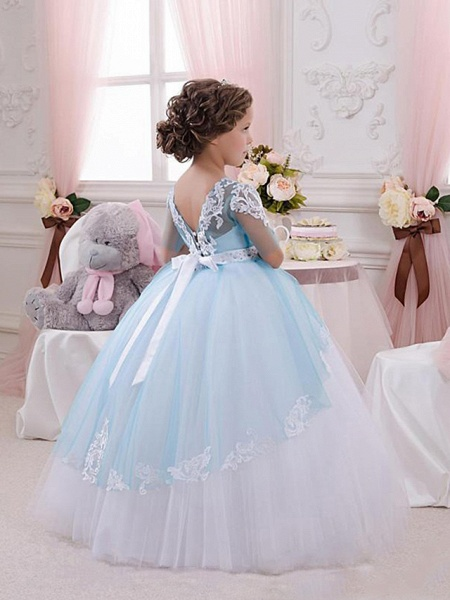 Princess Floor Length Wedding / Birthday / Pageant Flower Girl Dresses - Lace / Tulle Short Sleeve Jewel Neck With Lace / Appliques / Crystals / Rhinestones_2
