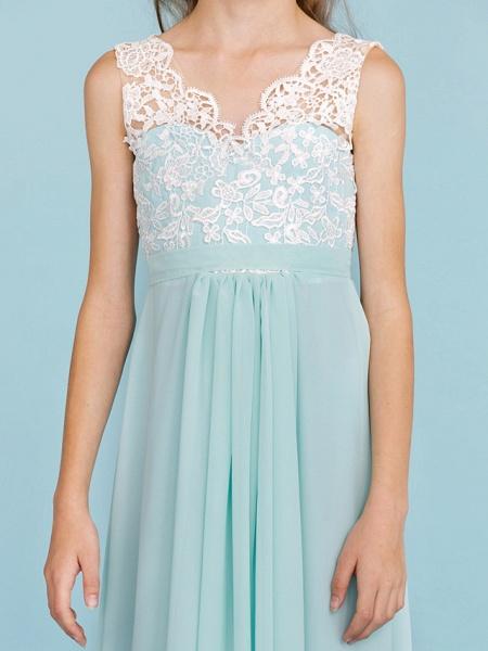 Sheath / Column V Neck Floor Length Chiffon / Lace Junior Bridesmaid Dress With Sash / Ribbon / Pleats / Color Block / Wedding Party / Open Back_7