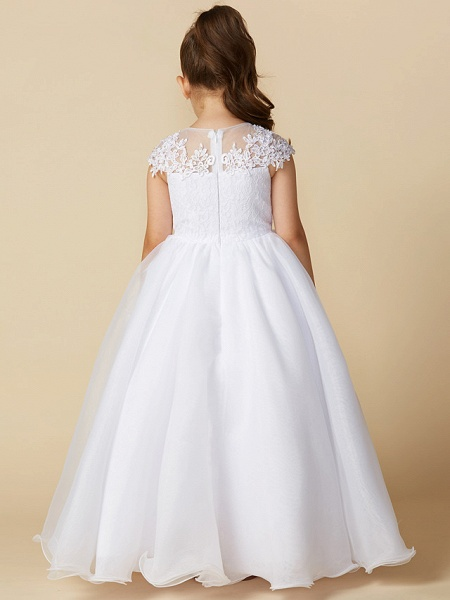Ball Gown Ankle Length Wedding / First Communion Flower Girl Dresses - Lace / Tulle Short Sleeve Jewel Neck With Beading / Appliques_2