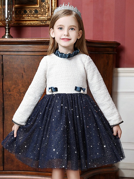 Princess / Ball Gown Knee Length Wedding / Party Flower Girl Dresses - Tulle Long Sleeve High Neck With Splicing_2