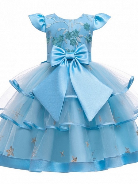 Princess / Ball Gown Knee Length Wedding / Party Flower Girl Dresses - Tulle Short Sleeve Jewel Neck With Bow(S) / Embroidery / Cascading Ruffles_5