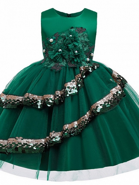 Ball Gown Knee Length Party / Pageant Flower Girl Dresses - Lace / Tulle Sleeveless Jewel Neck With Tier / Paillette_3