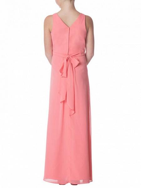 Sheath / Column Jewel Neck Floor Length Chiffon Junior Bridesmaid Dress With Pleats / Bandage_2