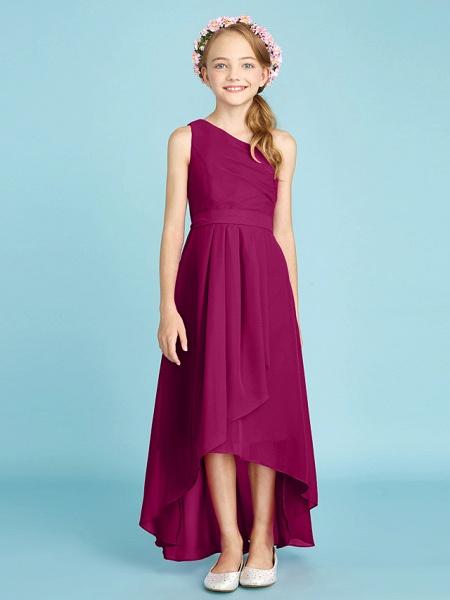 A-Line One Shoulder Asymmetrical Chiffon Junior Bridesmaid Dress With Sash / Ribbon / Bow(S) / Side Draping / Natural_44