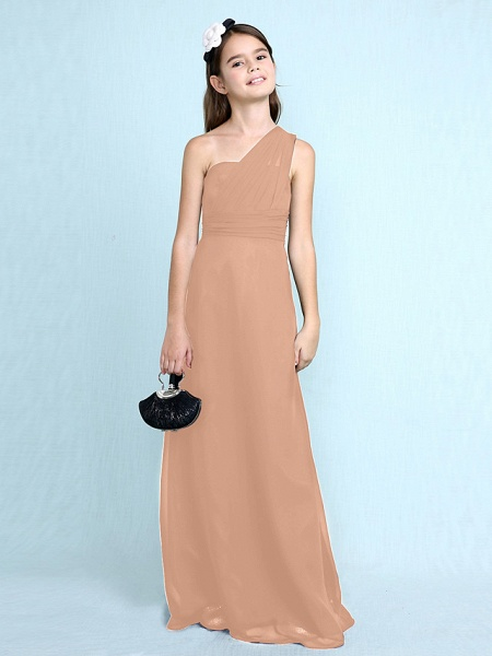Sheath / Column One Shoulder Floor Length Chiffon Junior Bridesmaid Dress With Side Draping / Natural_15