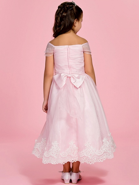 Princess / A-Line Ankle Length First Communion / Wedding Party Organza Short Sleeve Bateau Neck / Off Shoulder With Bow(S) / Ruched / Appliques / Spring / Summer / Fall_4